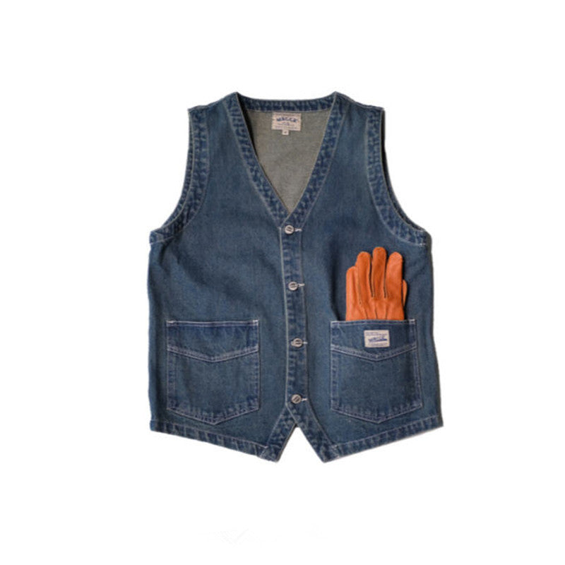 Japanese Denim Work MRGGR Vest by HOMBRE-X