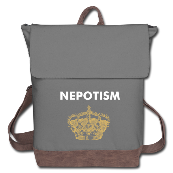 """NEPOTISM"" Canvas Backpack - gray/brown"