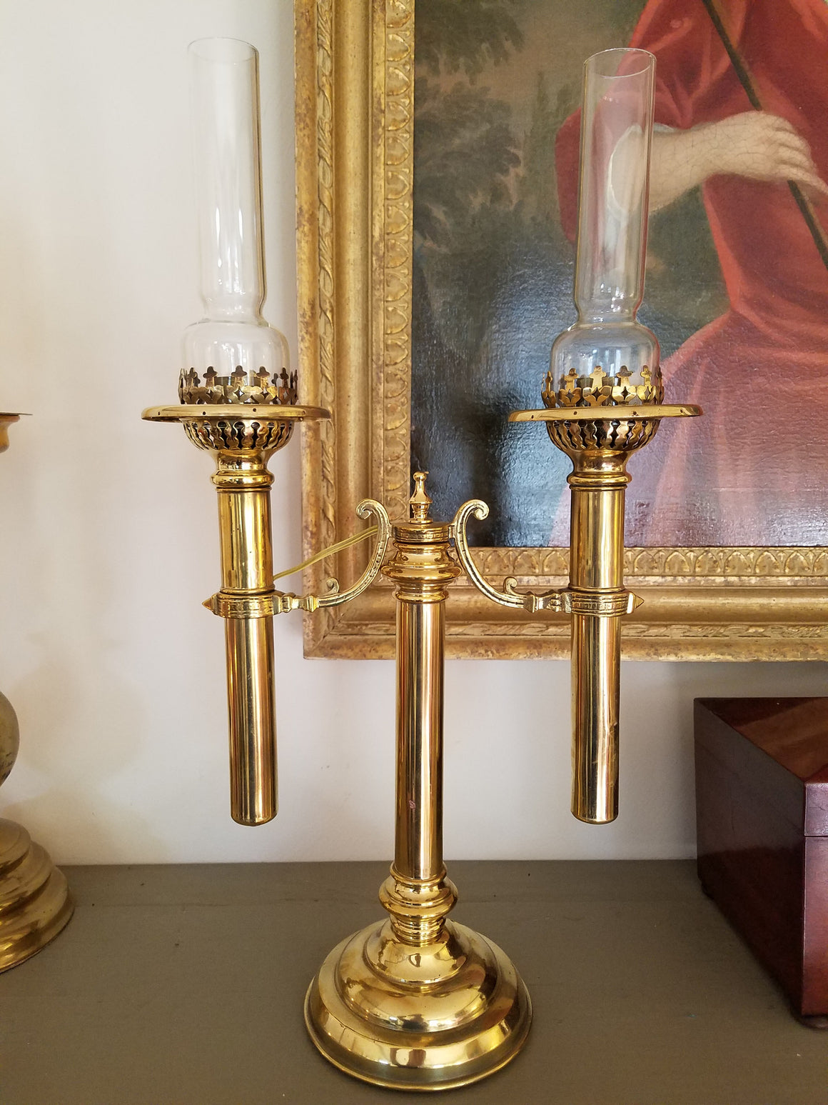 Double Arm Argand Style Lamp with glass chimneys