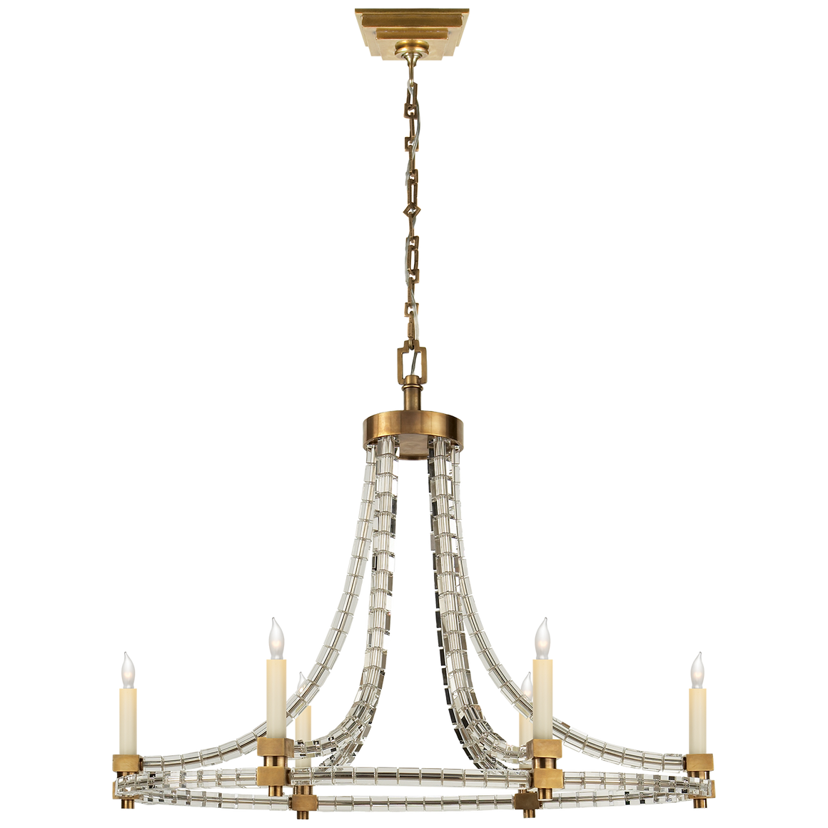 Crystal Cube Oval Flatline Chandelier