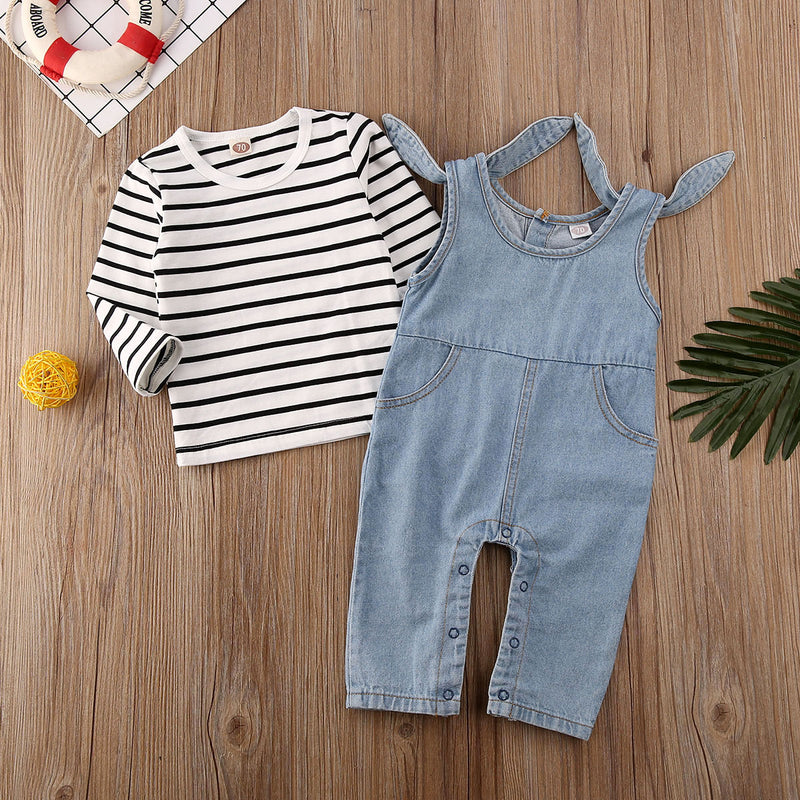 'Jack & Jill' Striped Jumpsuit Set