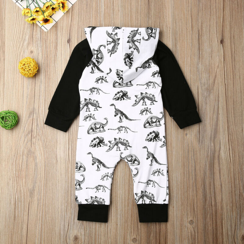 'Dinosaur' Black & White Hooded Jumpsuit