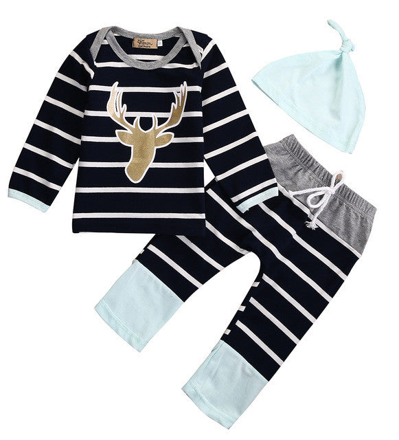 3 Piece Striped 'Deer' Outfit