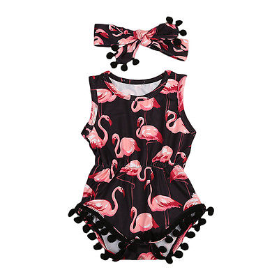 Black 'Flamingo' Romper with Headband
