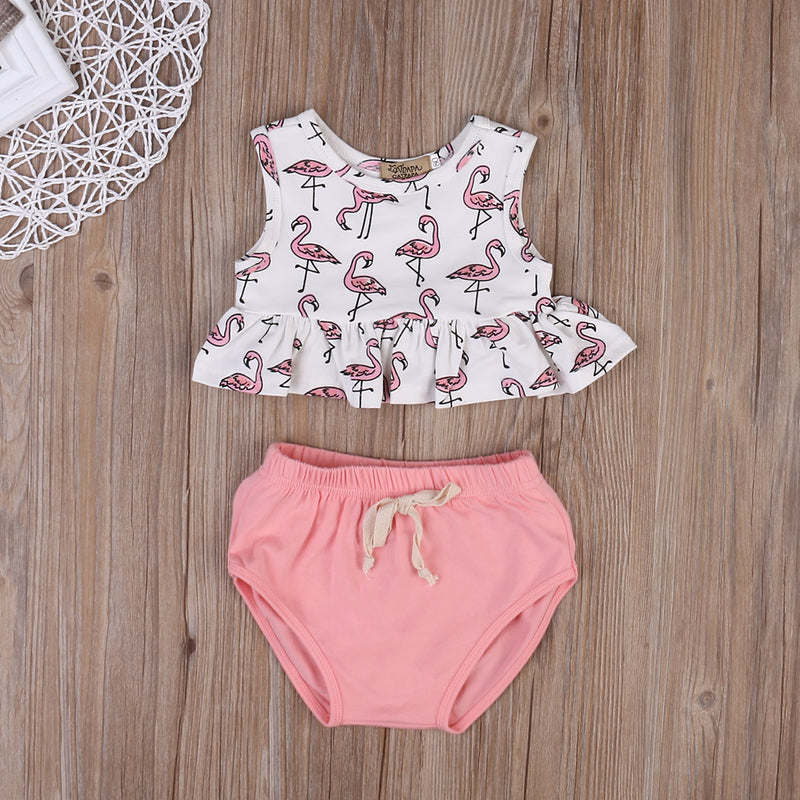2 piece 'Flamingo' Summer Outfit