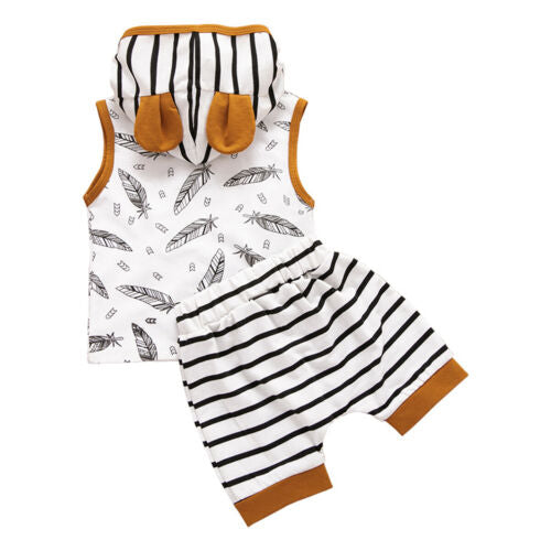 'Feathers' Striped Summer Hoody Outfit