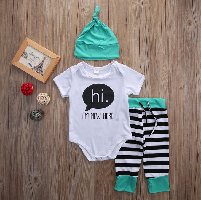 3 Piece 'Hi, I'm New Here' Outfit