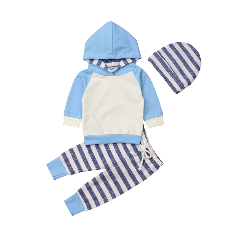 'Emil' Blue Striped Hoody with Beanie