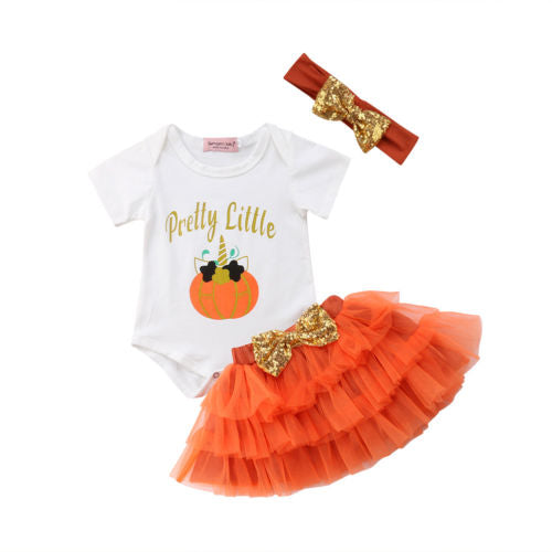 'Pretty Little Pumpkin' Outfit with Headband