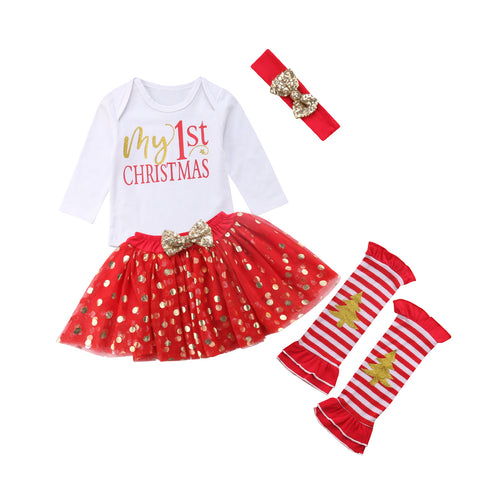 'My 1st Christmas' Girls Outfit with Stockings