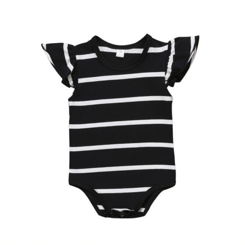 Striped Fly Sleeve Onesie