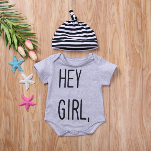 'Hey Girl' Onesie with Beanie