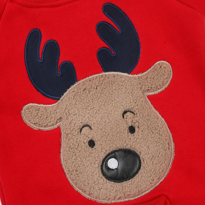 'Oh Deer' Red Jumpsuit