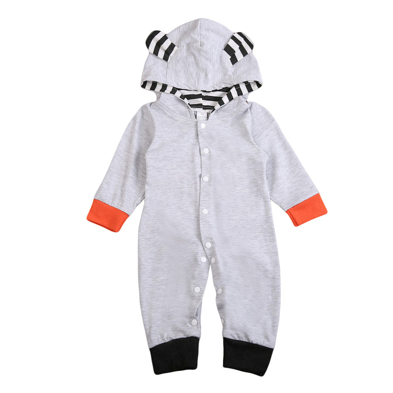 Gray Hooded Fox Jumpsuit with Ears