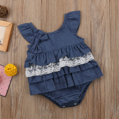 Ruffles & Lace Denim Romper