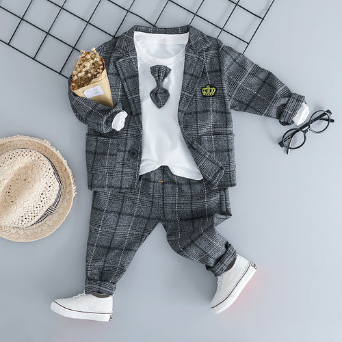 Gray Plaid Gentleman Outfit