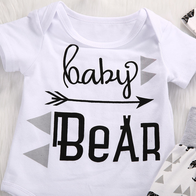 3 Piece 'Baby Bear' Outfit - Short Sleeve