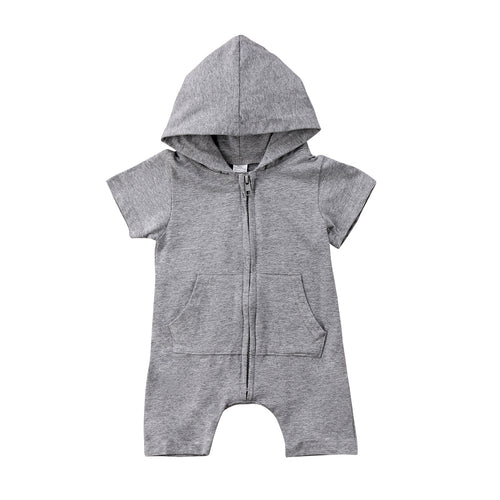 Gray Summer Hoody Jumpsuit