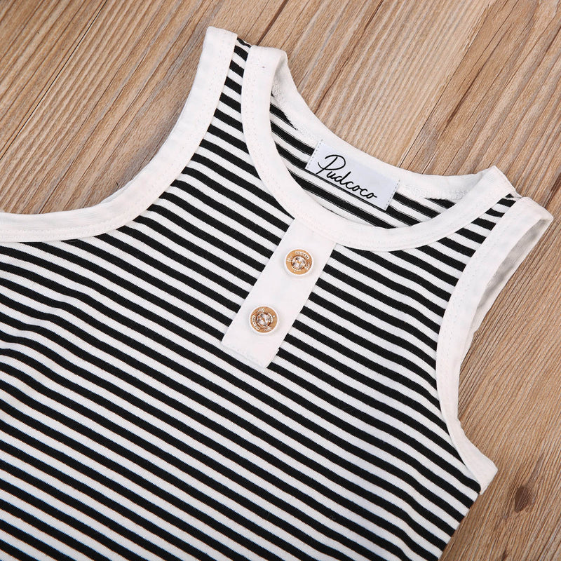 Charcoal Striped Summer Outfit