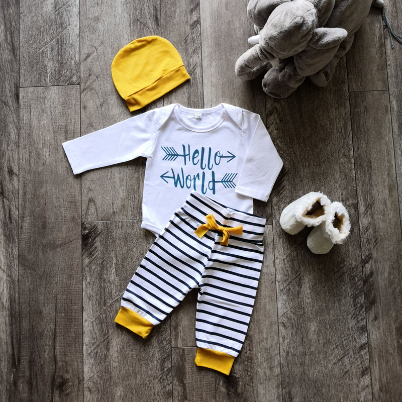 "3 Piece Yellow ""Hello World"" Outfit"