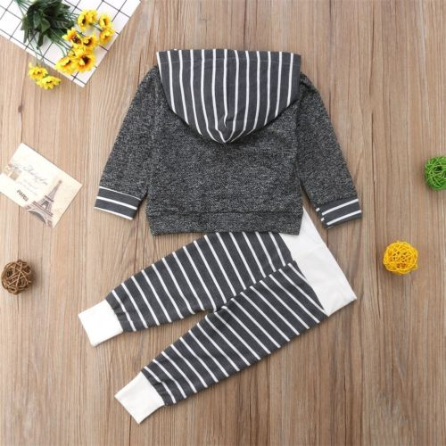 Dark Gray Striped Hoody Outfit