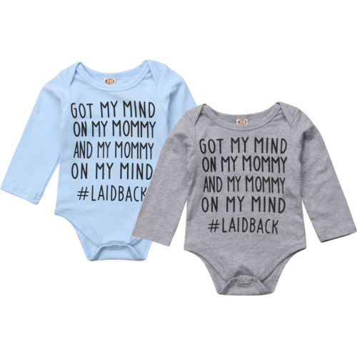 'Got my mind on my mommy' Long-sleeve Onesie