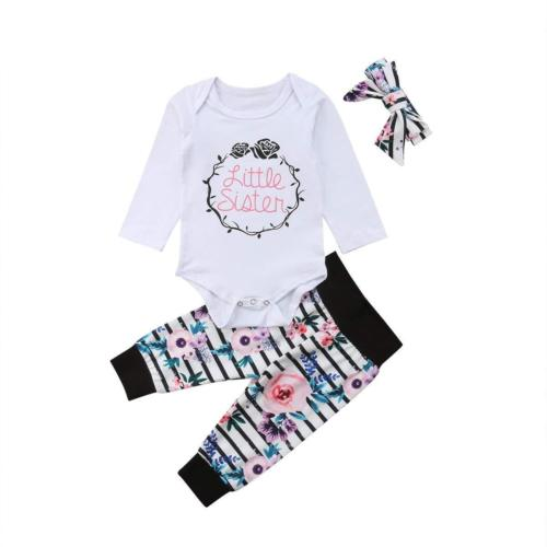 'Little Sister' Floral Striped Outfit with Headband