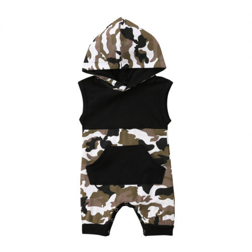 'Camo' Hooded Sleeveless Summer Jumpsuit