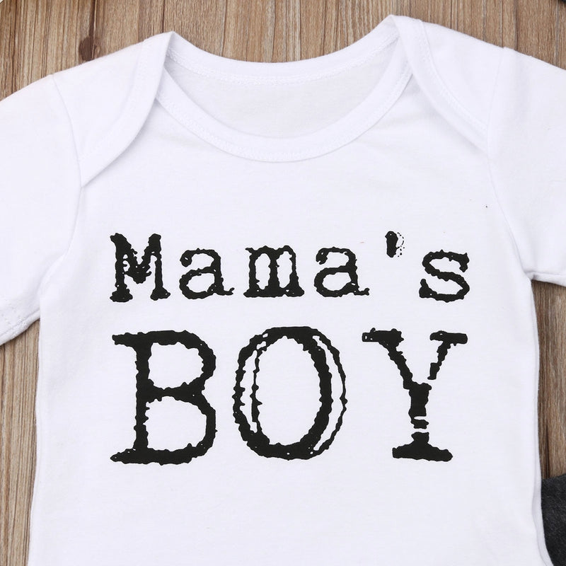 'Mama's Boy' Black & White Outfit with Beanie
