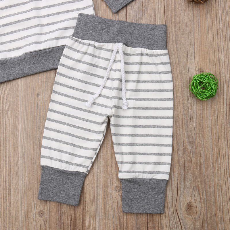 Striped Gray & White Outfit
