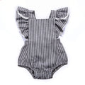 Gray Striped Tassel Romper