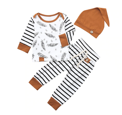 14615bd0089  Feather  Striped Outfit with Beanie