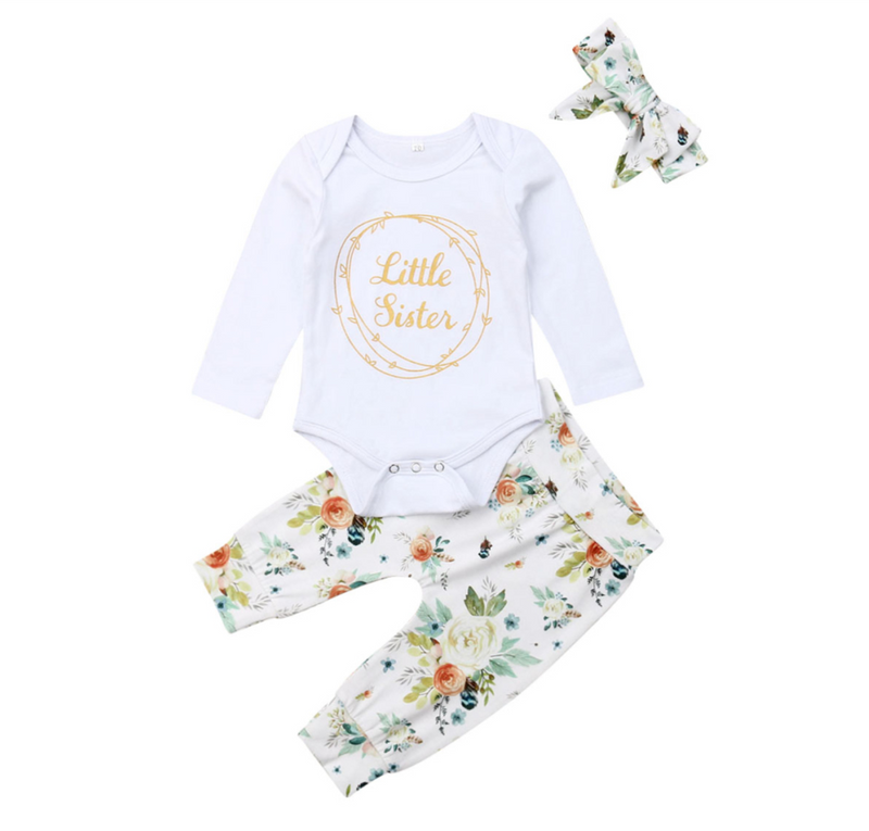 'Little Sister' Floral Outfit with Headband
