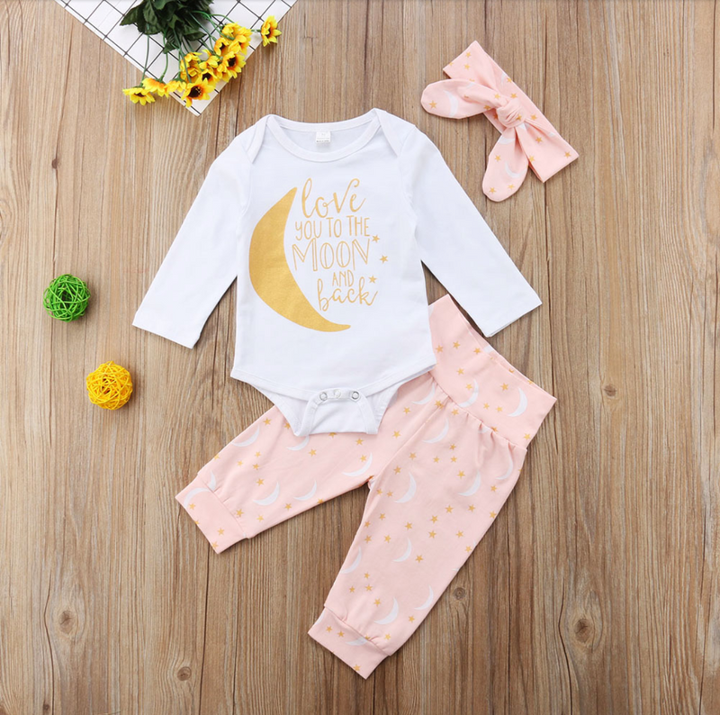 'Love you to the moon and back' Outfit with Headband