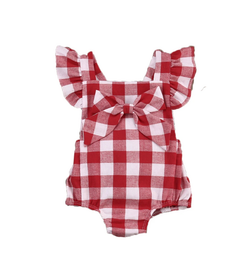 Girl's Plaid Jumpsuit with Bow Tie