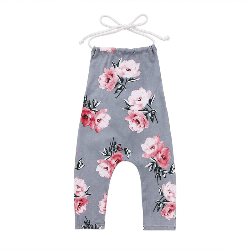 Sleeveless Pull-on 'Flower' Girls Jumpsuit