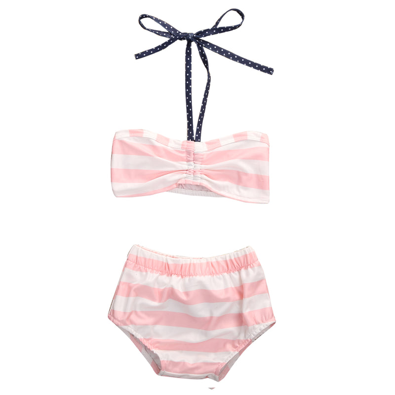 Pink Stripes Bikini with Bow Tie