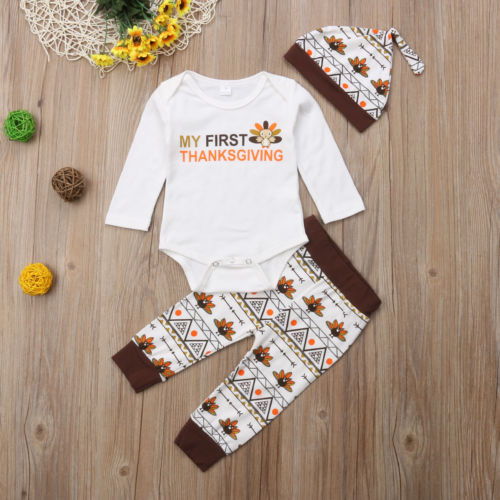 'My First Thanksgiving' Outfit with Beanie
