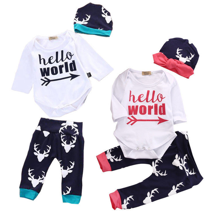 Hello World: 3-Piece 'Hello World' Baby Outfit