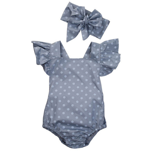2 Piece Polka Dot Romper with Headband