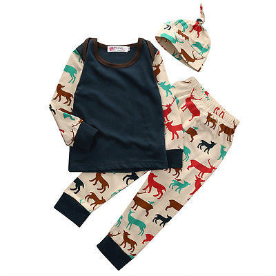3 Piece Multicolor 'Deer' Outfit