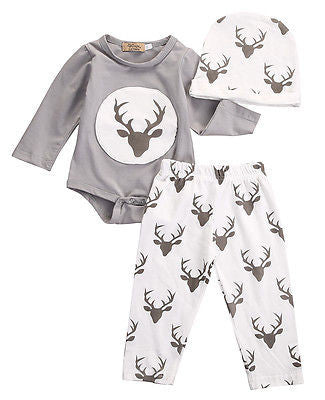 3 Piece Gray 'Deer' Outfit