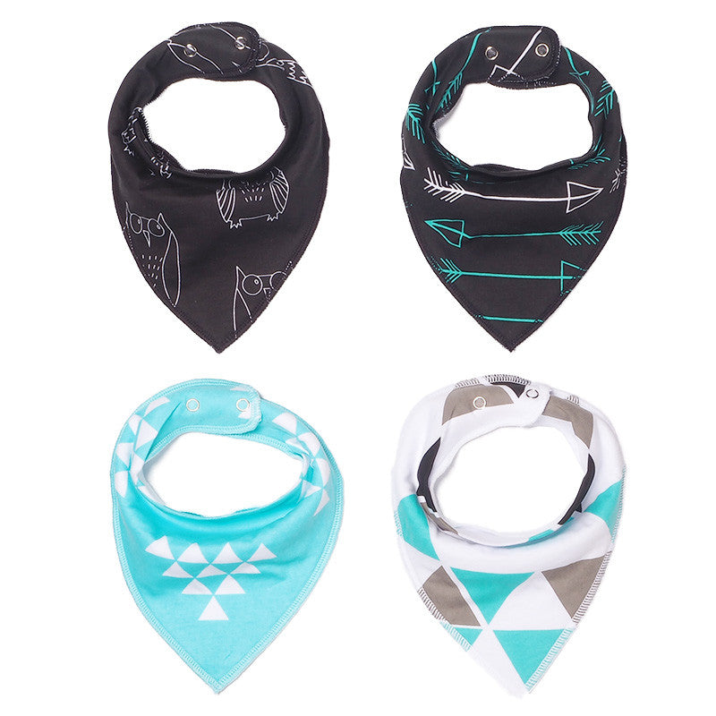 Set of 4 Cotton Bandana Bibs