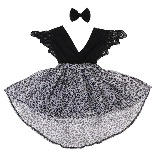 Girls Black Leopard Lace Dress