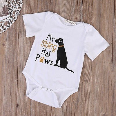 'My Sibling has Paws' Onesie
