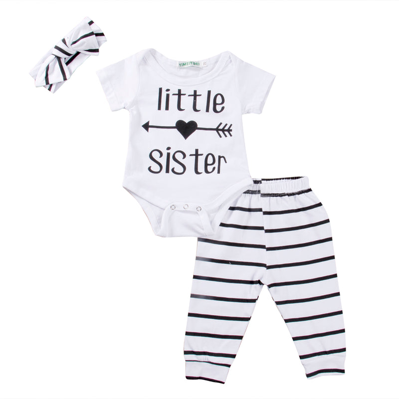 3 piece Striped 'Little Sister' Outfit