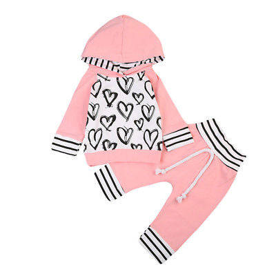 2 piece Pink 'Hearts' Hoody Outfit