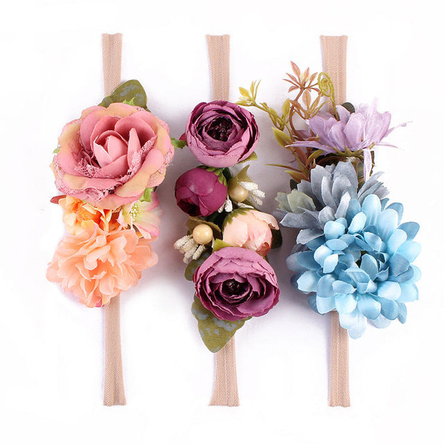 3 piece 'Wild Princess' Flower Headband Set