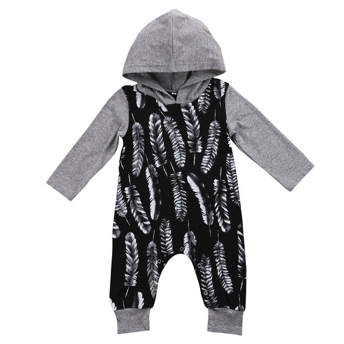 'Feather' Hoody Jumpsuit - Long Sleeves