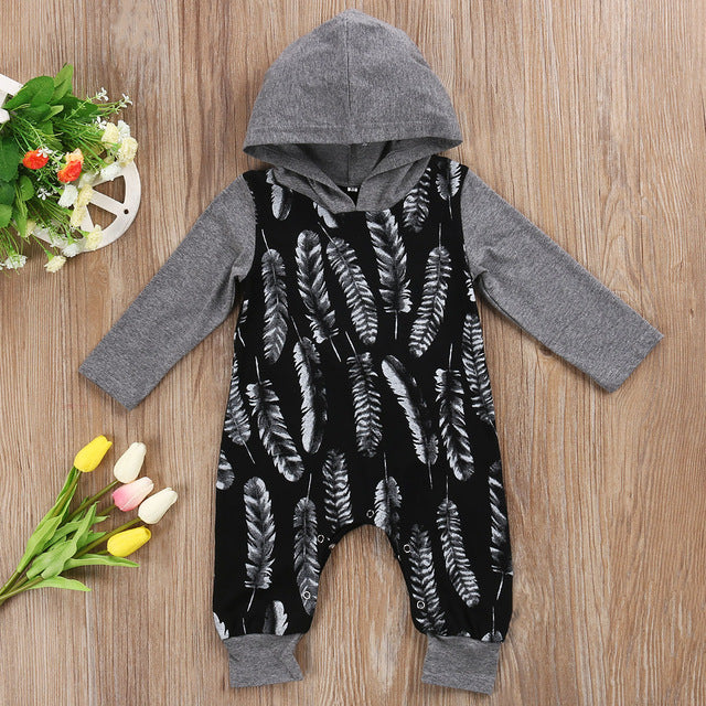 'Feather' Hoody Jumpsuit - No Sleeves